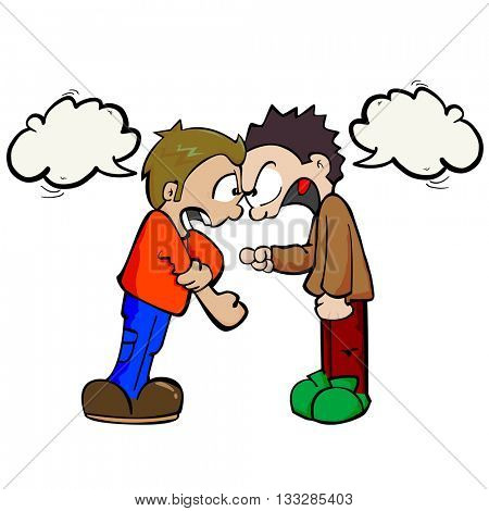 two boys with speech bubbles fighting cartoon