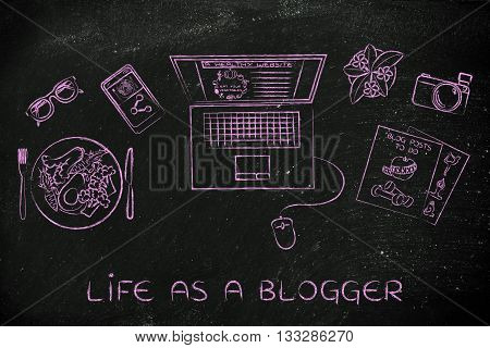 Health & Fitness Blogger Desk With Laptop, Life As A Blogger