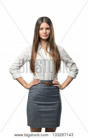 Business woman puts her hands on waist, isolated on white background. Smart staff. Success and development. Business staff. Office clothes. Dress code. Presentable appearance.