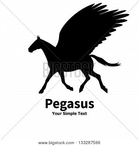 Vector illustration of a silhouette of a running pegasus. Isolated on white background. Pegasus side view profile. A horse with wings.
