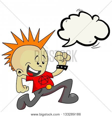 little punk with speech bubble cartoon