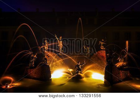 Fountain In The Great Garden Of The Herrenhausen Gardens In Hanover, Germany, At Night