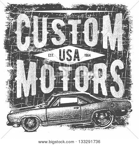 T-shirt Typography Design, Retro Car Vector, Printing Graphics, Typographic Vector Illustration, Vin