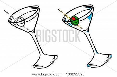 Vector Martini Illustration in B/W and Color.