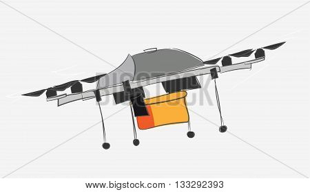 Drone quadrocopter. Technlology vector illustration in cartoon style