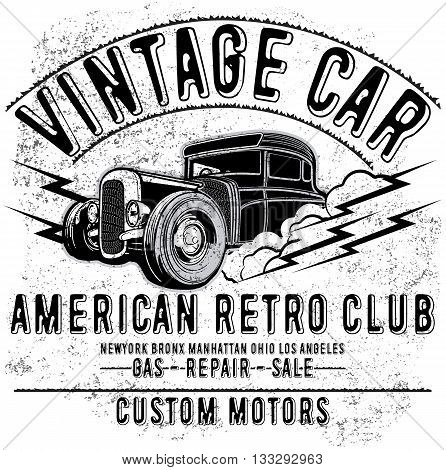 Retro car service sign. Vector illustration fashin style