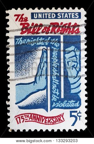 United States Used Postage Stamp Commemorating The Bill Of Rights