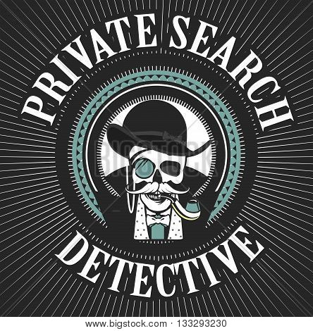 vector illustration of a skull with a pipe and a private investigator hat poster