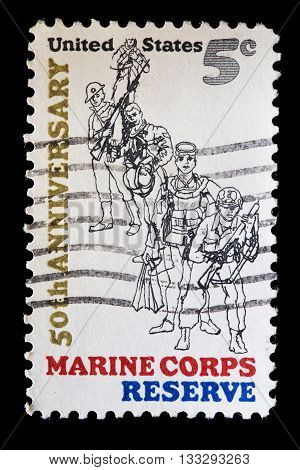 United States Used Postage Stamp Showing The Marine Corps Reserve
