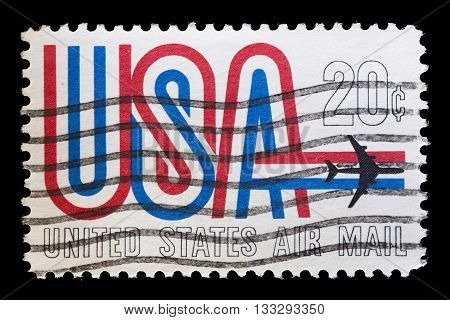 United States Used Postage Stamp Showing Airplane Flying Usa Word