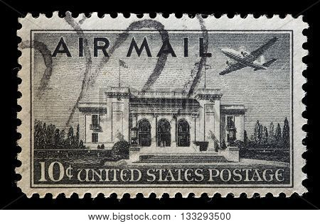 United States Used Postage Stamp Showing Airliner In Flight