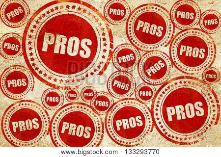 pros, red stamp on a grunge paper texture