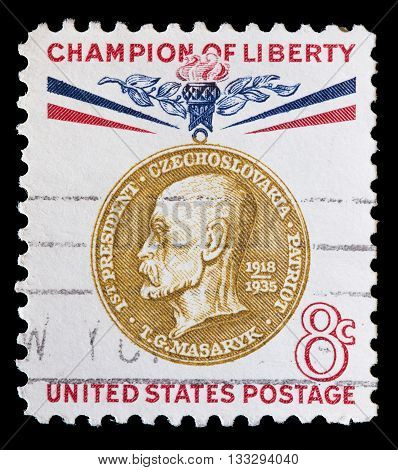 United States Used Postage Stamp Showing Portrait Of Thomas Masaryk