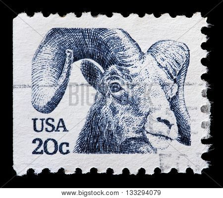 United States Used Postage Stamp Showing The Head Of A Mouflon