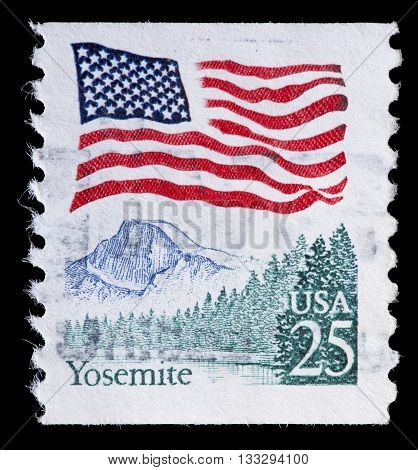 United States Used Postage Stamp Showing Flag On Yosemite California