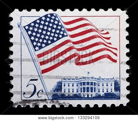 United States Used Postage Stamp Showing Waving Usa Flag