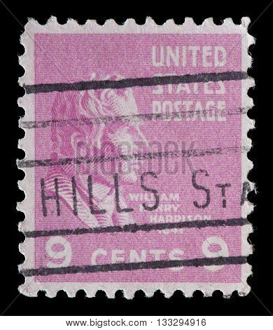 United States Used Postage Stamp Showing President Wiliam Henry Harrison