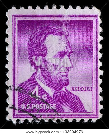 United States Used Postage Stamp Showing President Abraham Lincoln