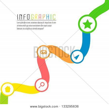 Vector info graphic path with different colors and symbols to succes project. Symbol path template. Concept way of achievements. White background.