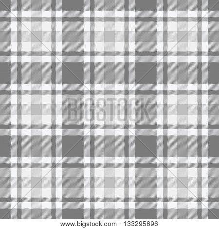 Traditional Scottish grey white tartan pattern made seamless for kilt or bandana