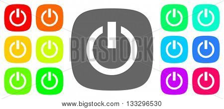 power vector icons, flat design colorful internet buttons set, web and mobile app illustration