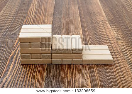 Close-up wooden bricks in the form of steps. Game of physical and mental skill. Entertainment activity. Education and development. Side view.