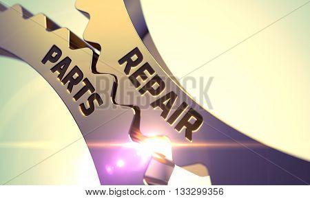 Repair Parts on Mechanism of Golden Cog Gears. Repair Parts on the Mechanism of Golden Cogwheels with Lens Flare. Repair Parts on Mechanism of Golden Cogwheels with Glow Effect. 3D Render.