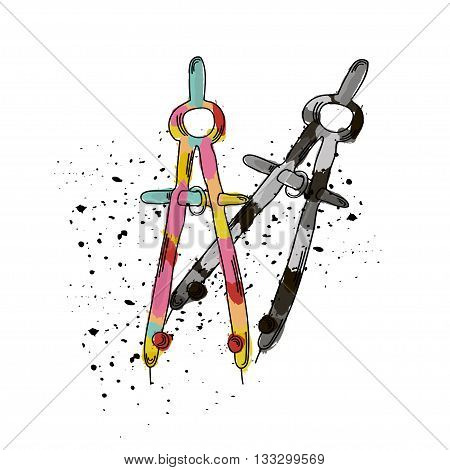 Vector illustration of compass for drafting. It can be used as poster postcard invitation. Architectural device. Vector illustration