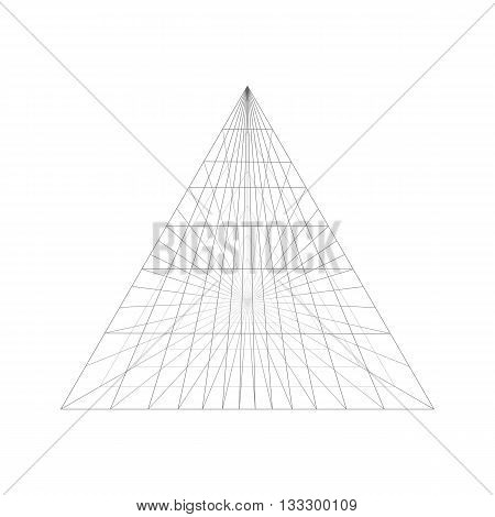 Pyramid construction in perspective. Pyramid of the connected lines. Pyramid isolated on white background.