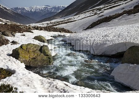 River With Snow Bridges In Spring Mountains At Sun Day