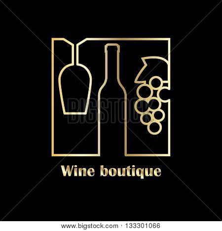 Luxury badge or label for wine boutique winery or wine house. Premium gold style on black background