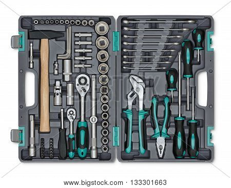 Close-up open toolbox. Construction instruments and tools. Set of tools. Compact tool box. Mend and repair. Universal tool for installers. Home tool kit. Everyday instruments. Work stuff.