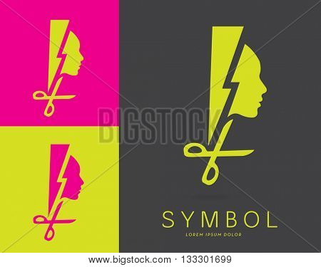 DYNAMIC DESIGN, VECTOR LOGO / ICON OF A HEAD SILHOUETTE INCORPORATED WITH A LIGHTNING AND A PAIR OF SCISSORS .