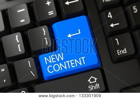 Blue New Content Button on Keyboard. New Content Close Up of Black Keyboard on a Modern Laptop. Concepts of New Content, with a New Content on Blue Enter Key on Modernized Keyboard. 3D.