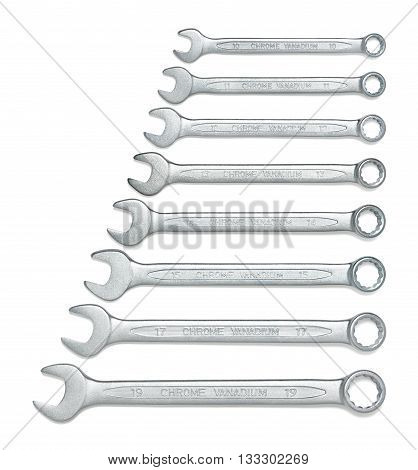 Cut-out wrenches horizontally placed from the biggest to the smallest in a row. Top view composition. Hand tool. Tools for carpentry work. Type of fastener. Mend and repair. Parts for repair. Hexagonal shape.