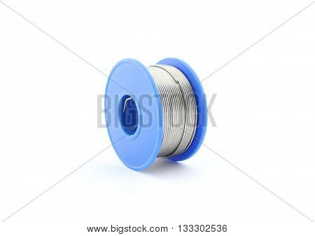 Blue soldering wire reel, flux, isolated on white