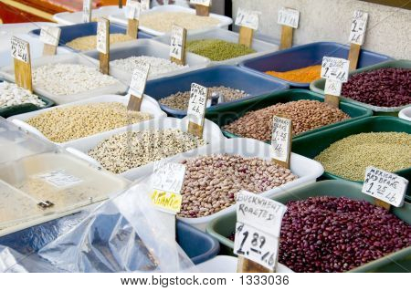 Spices, Herbs And Vegetablesdisplayed At A Market