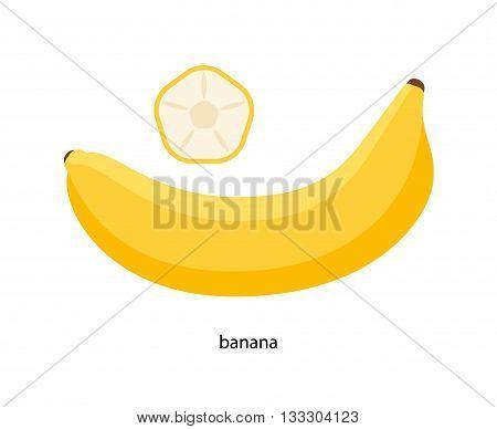 Nice yellow banana and its transverse section