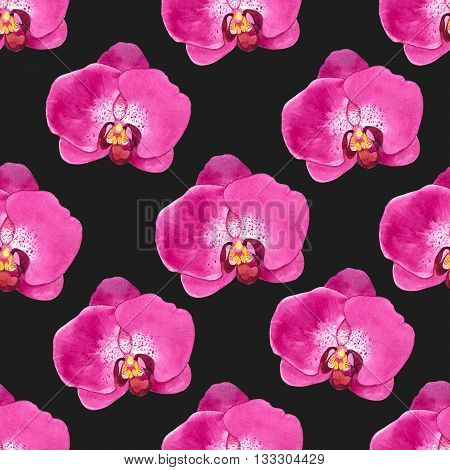 Floral pink pattern with watercolor realistic flowers on blackbackground for your design and decor.
