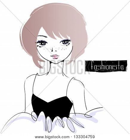 Beautiful fashion girl. Fashionista translation is a person who works in the fashion industry. Vector illustration.