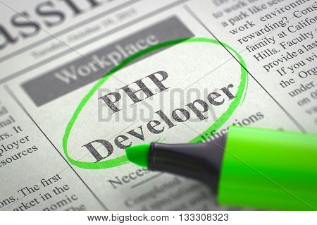 A Newspaper Column in the Classifieds with the Jobs of PHP Developer, Circled with a Green Marker. Blurred Image with Selective focus. Job Search Concept. 3D Render.