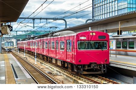Local train at Himeji station, Hyogo Prefecture in Japan poster