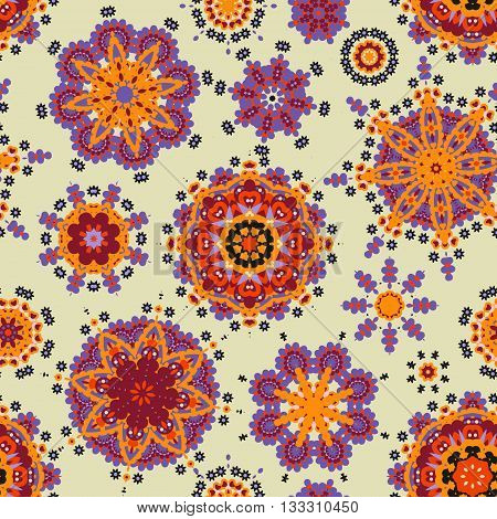 Ethnic pattern in orange violet color with stylized flowers, leaves and circular shapes with Kazakh, Turkish, Uzbek motifs Seamless vector texture for print, spring summer fashion, fabric, textile