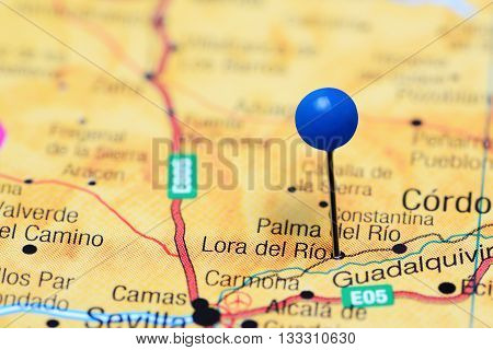 Lora del Rio pinned on a map of Spain
