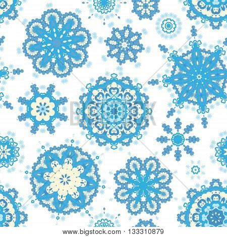 Ethnic pattern in blue color with stylized flowers, leaves and circular shapes with Kazakh, Turkish, Uzbek motifs Seamless vector texture for print, spring summer fashion, fabric, textile