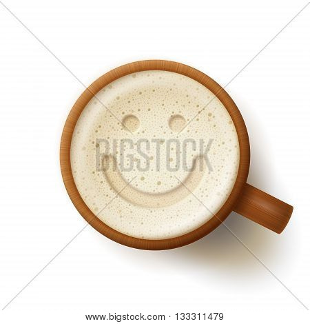Wooden mug of beer smiling face at froth on white background. Fun and good mood concept