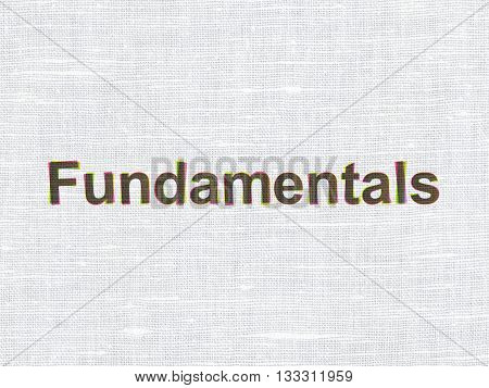 Science concept: CMYK Fundamentals on linen fabric texture background