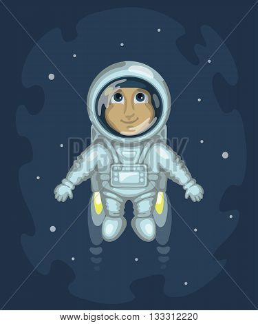 Cute smiling man dressed in white spacesuit is flying in outer space using cosmic engine on starry space background. Science and fiction concept