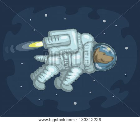 Cute smiling dog dressed in white spacesuit is flying in outer space using cosmic engine, on starry space background. Science and fiction concept