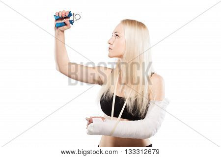 Fitness Girl With A Broken Arm